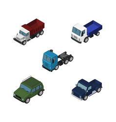 isometric car set of armored truck lorry and vector image