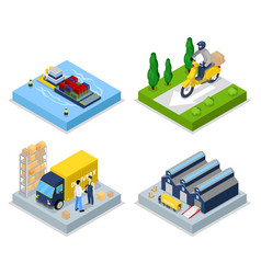 isometric delivery concept worldwide shipping vector image