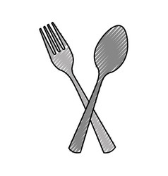 Kitchen fork and spoon isolated icon vector