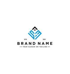 Letter sh square with roof house logo design vector
