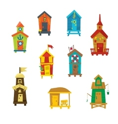 Little Beach Cabins Cute Set vector image
