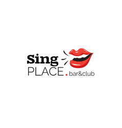 Logo with lips for bar and karaoke club vector