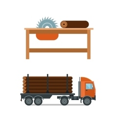 Lumberjack chainsaw and truck icons vector