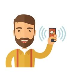 Man hold smartphone vector