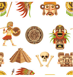 Maya traditional attributes and ancient priceless vector