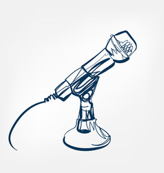 microphone sketch line design music radio vector image