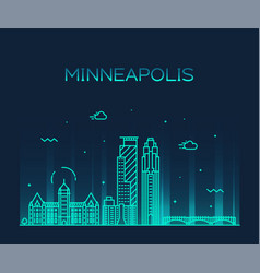 Minneapolis city skyline minnesota usa city vector
