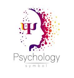 Modern head sign of psychology profile human vector