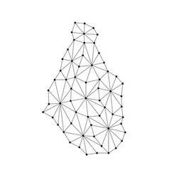 montserrat map of polygonal mosaic lines network vector image