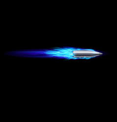 moving blue fiery gun bullet shot on black vector image