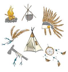 native american indian warior vintage bohemian vector image