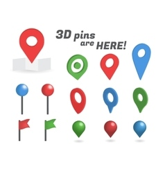Navigation pins 3d isometric collection vector