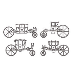 outline king carriages or vintage chariote set vector image