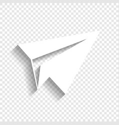 Paper airplane sign white icon with soft vector