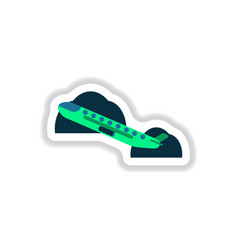 Paper sticker on white background airplane takeoff vector