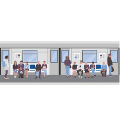 people inside a subway train passangers metro vector image