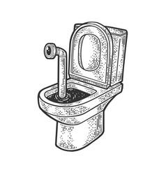 Periscope in toilet sketch vector