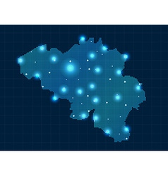 pixel Belgium map with spot lights vector image