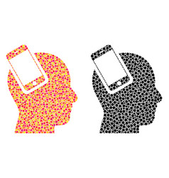 Pixel smartphone head integration mosaic icons vector