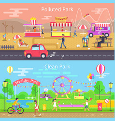 polluted and clean park set vector image