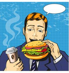pop art man eating burger vector image