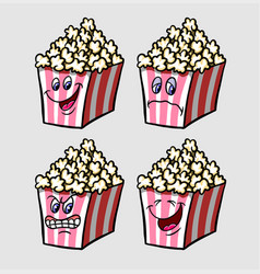 popcorn cartoon character expression vector image