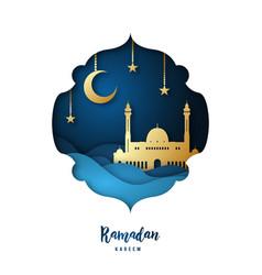 ramadan kareem with arabic gold origami mosque vector image