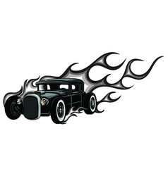 rat rod on a background with flames vector image