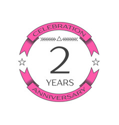 realistic two years anniversary celebration logo vector image