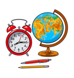 Retro style alarm clock school globe pen pencil vector