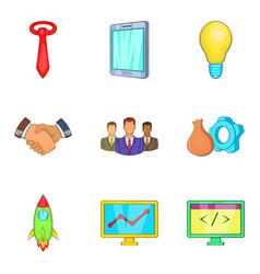 Rich company icons set cartoon style vector