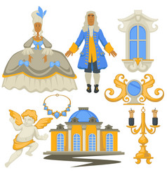 Rococo style decor and architecture jewelry and vector