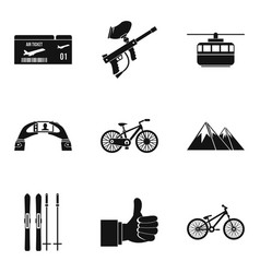 Ropeway icons set simple style vector