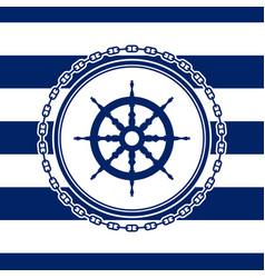 Round marine emblem with ships wheel vector