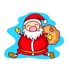 Run Santa Claus with gift bag Christmas theme vector