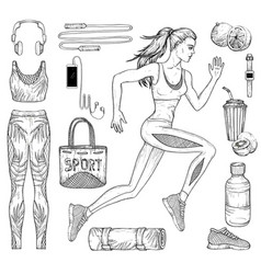 running woman fitness and sport clothes vector image