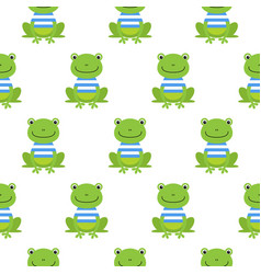 seamless pattern with cute sailor frogs vector image