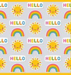 seamless summer pattern sun and rainbow vector image