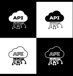 set cloud api interface icons isolated on black vector image