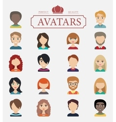 Set of avatars flat icons vector image