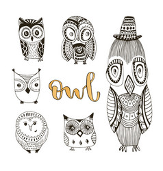 Set of cute doodle owls birds isolated collection vector