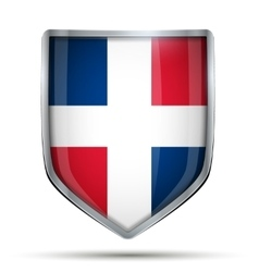 Shield with flag Dominican Republic vector