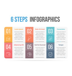Six steps infographics vector