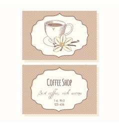 Sketched coffee cup with vanilla flower business vector