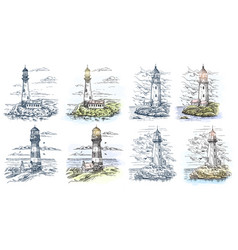 Sketches of lighthouse for sea or ocean banner vector