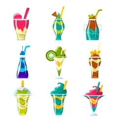 Smoothies And Bright Multilayered Cocktails vector