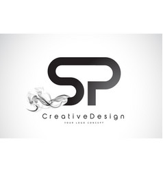 Sp letter logo design with black smoke vector