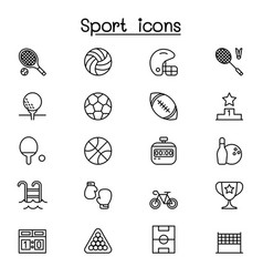 sport icon set in thin line style vector image