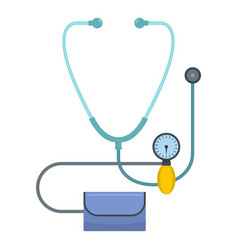 Stethoscope and tonometer icon flat style vector