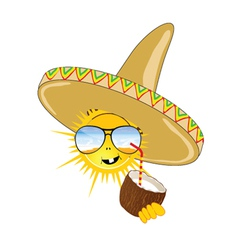 Sun with sombrero and coconut vector